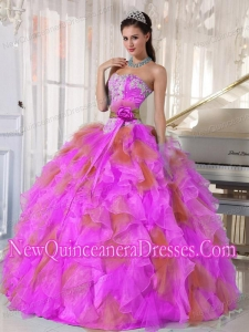 Discount Ball Gown Sweetheart Organza Long Sweet 16 Dresses with Appliques