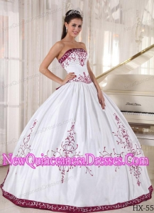 Discount Strapless Floor-length Embroidery Sweet 15 Dresses in White and Wine Red