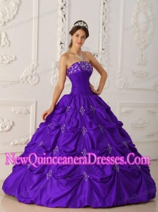 Eggplant Purple Ball Gown Taffeta Appliques and Beading Custom Made Quinceanera Dresses