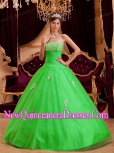 Elegant Spring Green Princess Strapless Appliques Tulle Quinceanera Dress