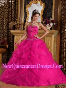 Hot Pink Ball Gown Strapless Floor-length Elegant Quinceanera Dress with Pick-ups