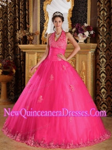 Hot Pink Halter Floor-length Appliques Tulle Cheap Quinceanera Gowns