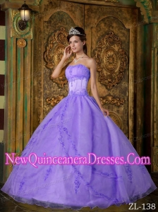 Lavender Ball Gown With Floor-length Appliques Organza Cheap Quinceanera Gowns