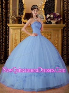 Lilac Ball Gown Tulle Appliques Custom Made Quinceanera Dresses