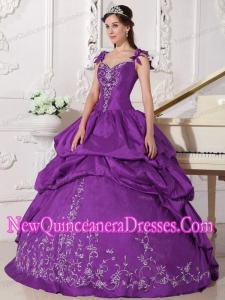 Purple Ball Gown Taffeta Embroidery Custom Made Quinceanera Dresses