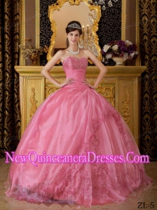 Rose Pink Ball Gown With Sweetheart Appliques Organza Cheap Quinceanera Gowns
