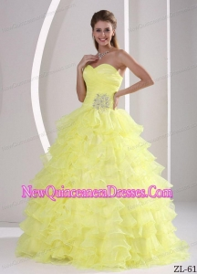Ruffles Sweetheart Appliques and Ruching Discount Sweet 15 Gowns For Military Ball
