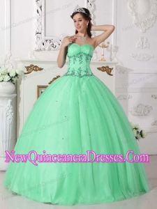 Sweetheart Apple Green Ball Gown Floor-length Tulle and Taffeta Classical Quinceanera Dress with Beading