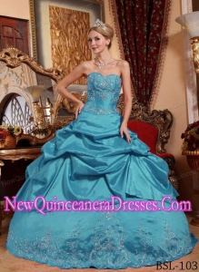 Sweetheart Teal Floor-length Taffeta Quinceanera Dress with Embroidery and Beading