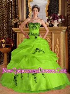 Yellow Green Ball Gown Satin and Organza Embroidery Custom Made Quinceanera Dresses