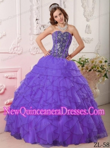 A Purple Ball Gown Sweetheart With Organza Beading New Style Quinceanera Dress