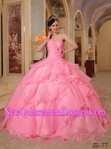 A Watermelon Ball Gown Sweetheart With Organza Beading New Style Quinceanera Dress
