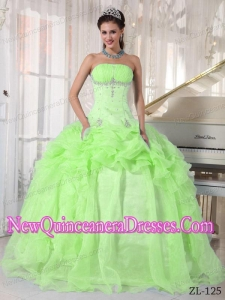 A Yellow Green Ball Gown Strapless With Organza Beading New Style Quinceanera Dress