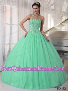 Apple Green Ball With Sweetheart Tulle Beading New Style Quinceanera Dress