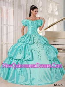 Ball Gown Fashionable Off The Shoulder Floor-length Taffeta Embroidery Quinceanera Dress