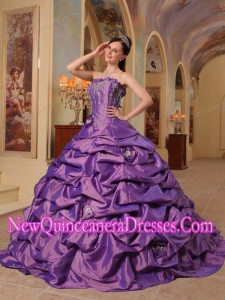 Ball Gown Strapless Court Train Pick-ups Elegant Quinceanera Dress in Purple