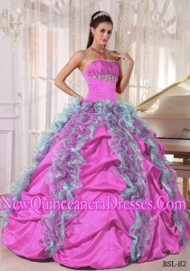 Ball Gown Strapless Floor-length Organza and Taffeta Fashionable Quinceanera Dress with Beading and Ruffles