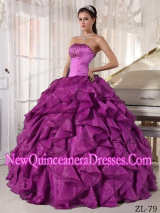 Ball Gown Strapless Floor-length Satin and Organza Beading Fashionable Quinceanera Dress in Eggplant Purple