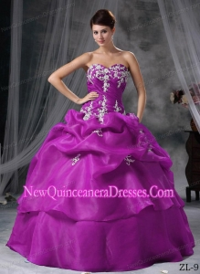 Ball Gown Sweetheart Floor-length Organza Appliques Fashionable Quinceanera Dress