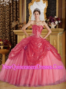 Ball Gown Sweetheart Sequined and Tulle Handle Flowers Elegant Quinceanera Dress in Coral Red