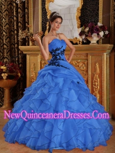 Blue Ball Gown Sweetheart Elegant Quinceanera Dress with Appliques