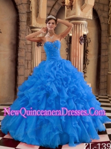 Discount Ball Gown Sweetheart Floor-length Ruffles Quinceanera Dress in Blue