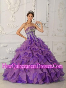 Elegant Ball Gown Strapless Beading and Appliques Quinceanera Dress in Purple