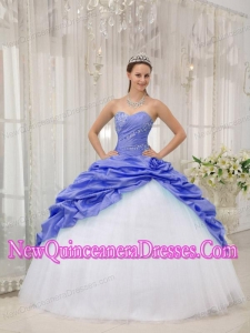 Elegant Beading Sweetheart Purple and White Quinceanera Dress