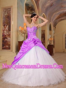 Elegant Fuchsia and White A-Line Sweetheart Beading Tulle and Taffeta Quinceanera Dress