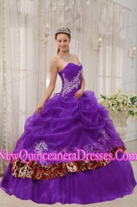Elegant Purple Ball Gown Sweetheart Organza and Zebra or Leopard Appliques Quinceanera Dress