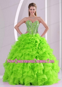 Fashionable Beading Ball Gown Sweetheart Green Quinceanera Gowns for 2014 summer