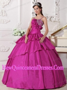 Fuchsia Ball Gown Taffeta Beading Quinceanera Dress with Straps