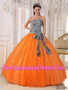 Orange Ball Gown Strapless With Tulle and Printing Sequins New Style Quinceanera Dress