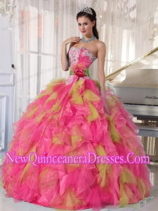Organza Appliqued Sweetheart Fashionable Quinceanera Dress with Detachable Sash