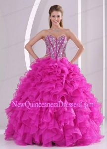 Pretty Sweetheart Ruffles and Beaded Decorate 2014 Hot Pink Fashionable Quinceanera Gowns