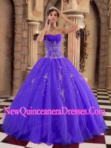 Purple Ball Gown Floor-length Organza Beading Elegant Quinceanera Dress