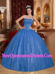 A Blue Sweetheart With Beading New Style Quinceanera Dress