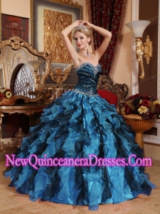 A Colorful Sweetheart With Beading and Ruffles New Style Quinceanera Dress