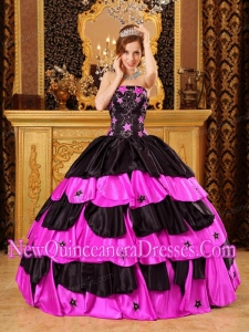 A Colourful Ball Gown Strapless Taffeta Beading New Style Quinceanera Dress