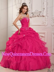 A Coral Red Strapless Organza Beading And Ruffles New Style Quinceanera Dress