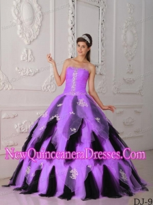 A-Line Fashionable Strapless Floor-length Organza Appliques Quinceanera Dress in Lilac and Black