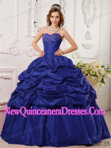 Appliqued Navy Blue Sweetheart Floor-length Tafftea Fashionable Quinceanera Dress