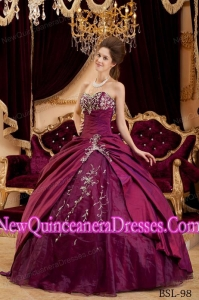 Appliques Sweetheart Taffeta and Tulle Luxurious Quinceanera Dresses in Burgundy