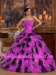 Ball Gown Organza Luxurious Quinceanera Dresses in Fuchsia and Black