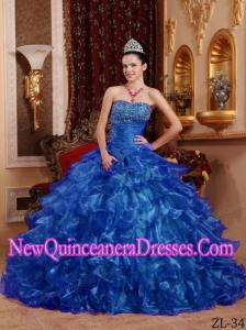 Ball Gown Strapless Organza Beading Elegant Quinceanera Dress in Blue