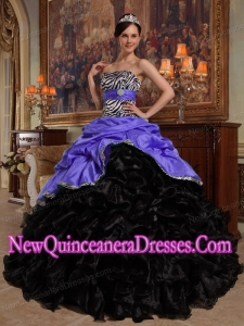 Ball Gown Sweetheart Purple and Black Pick-ups Taffeta and Organza Fashionable Quinceanera Dress
