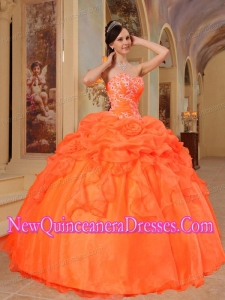 Ball Gown Taffeta and Organza Appliques Luxurious Quinceanera Dresses in Orange Red