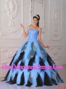 Blue and Black A-Line Strapless Organza Appliques Luxurious Quinceanera Dresses