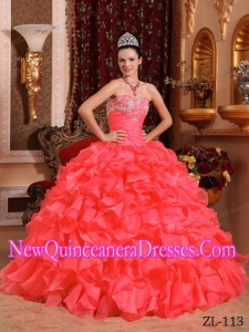 Coral Red Ball Gown Strapless Floor-length Organza Beading and Appliques Quinceanera Dress