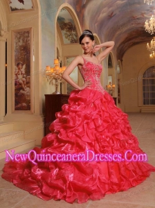 Coral Red Spaghetti Straps Organza Embroidery Luxurious Quinceanera Dresses